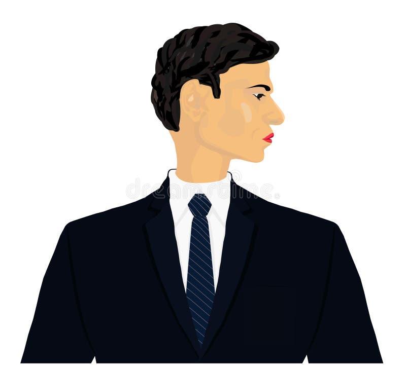 专业执行委员画象在燃烧物外套和蓝色领带正面传染媒介例证的 库存例证