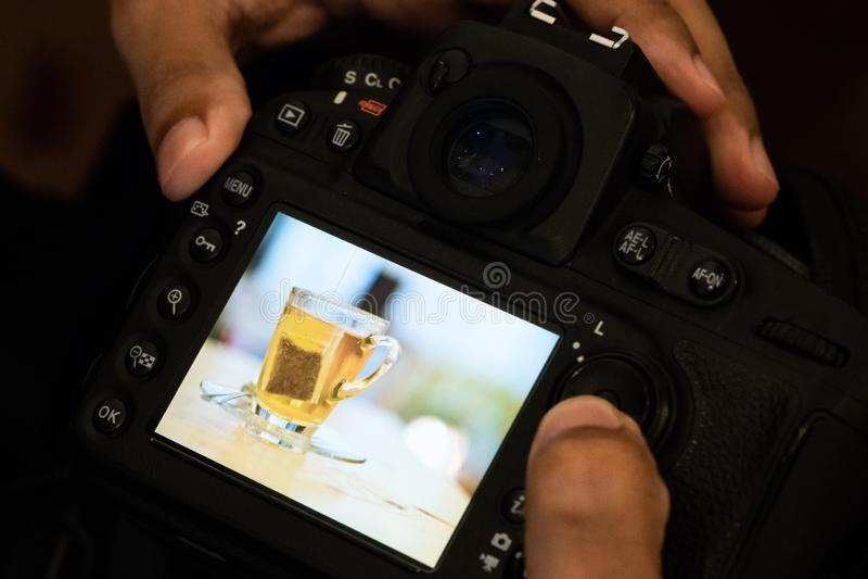 专业摄影师拍照片和检查图象茶包照片在后面照相机显示器 在照相机后的扫描和检查照片 库存图片