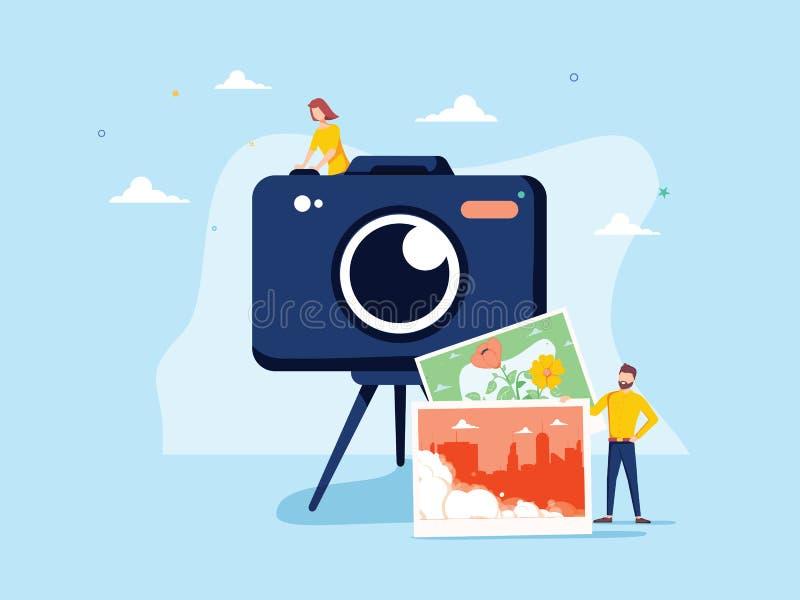 摄影师职业传染媒介例证 平的微小的照相机图片人概念 专业数字影片 库存例证