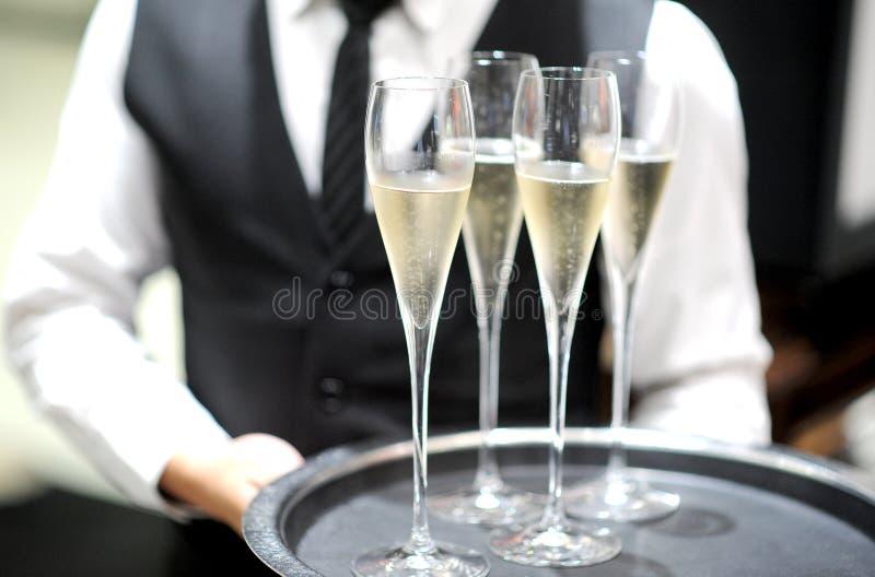 专业服务香槟 库存图片