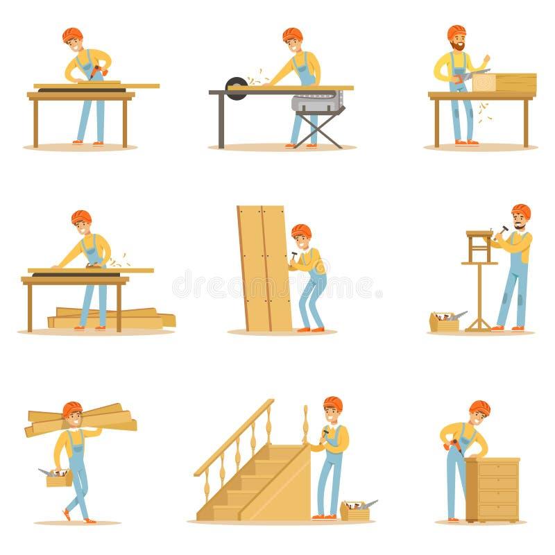 专业木联合在制作木家具和其他建筑元素传染媒介例证的工作 向量例证