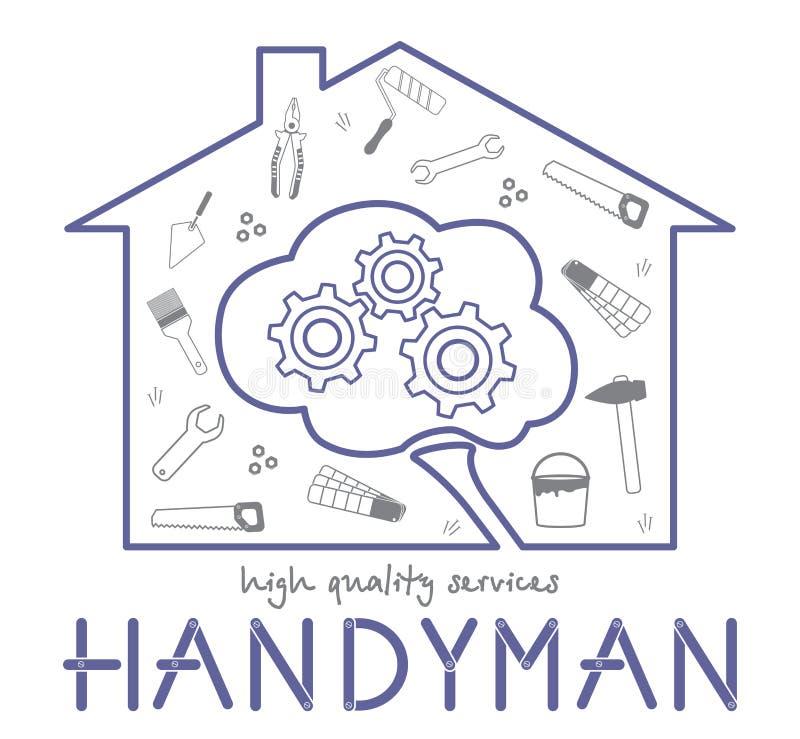 专业杂物工为商标服务 房子的剪影和脑子的剪影 聪明的杂物工服务的概念 皇族释放例证
