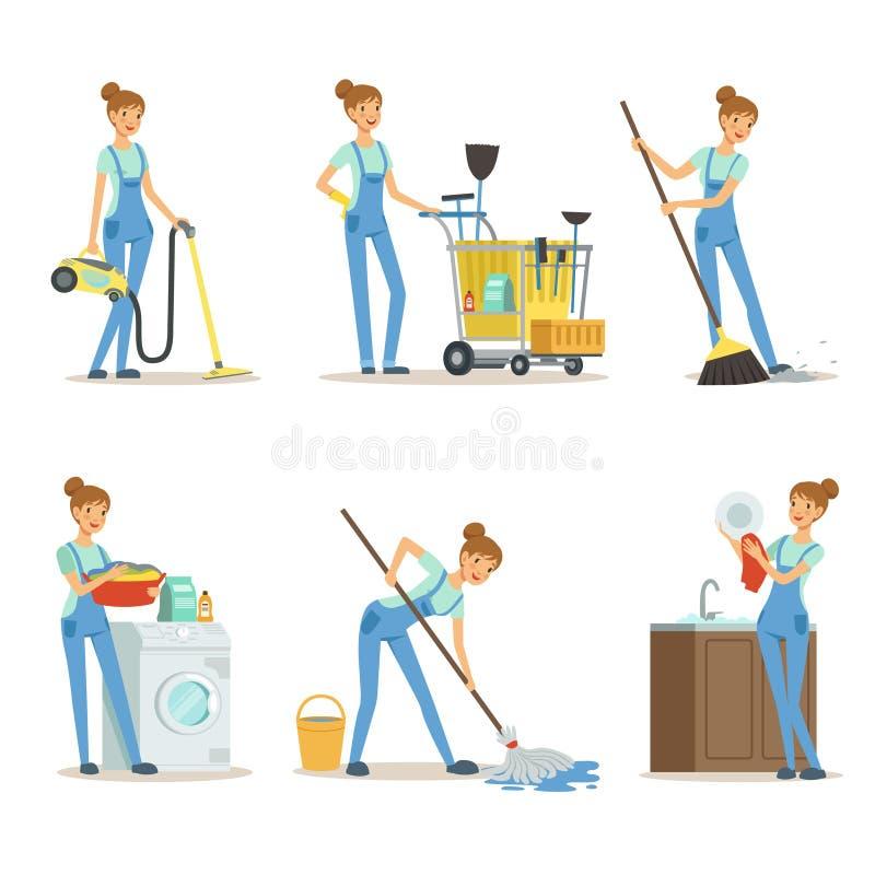 专业清洁服务 妇女擦净剂做一些家事 向量例证