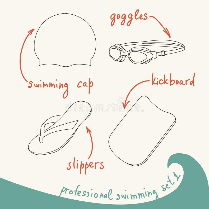 专业游泳设备的传染媒介例证在锂设置了 向量例证