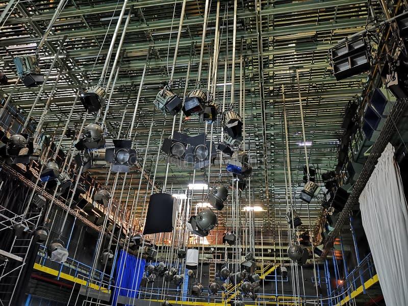 专业照明设备和放映机 免版税库存照片