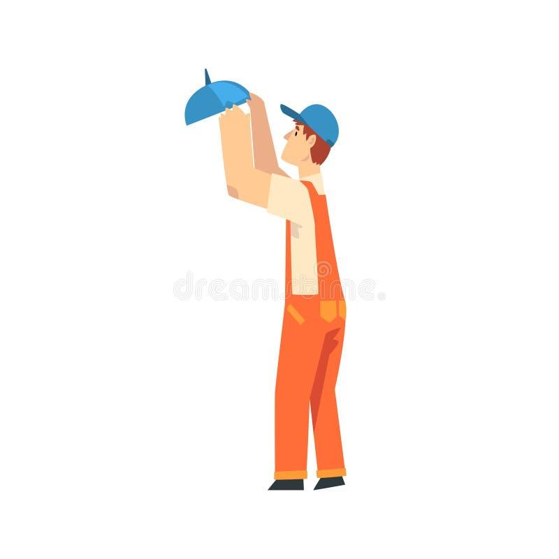 专业电工拧紧的灯、男性建筑工人字符在橙色总之和蓝色焰晕与 皇族释放例证