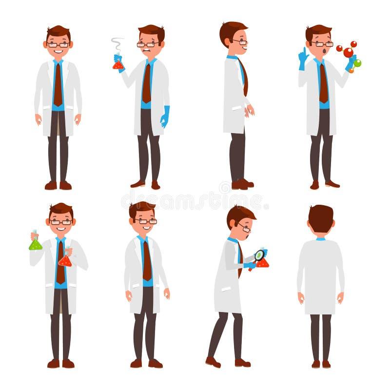 专业科学家传染媒介 现代年轻工人 男性在工作在实验室 隔绝在白色漫画人物 向量例证