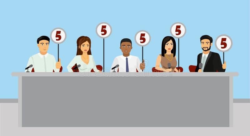 专业竞争的传染媒介例证判断拿着有估计的陪审员片剂在平的样式 向量例证
