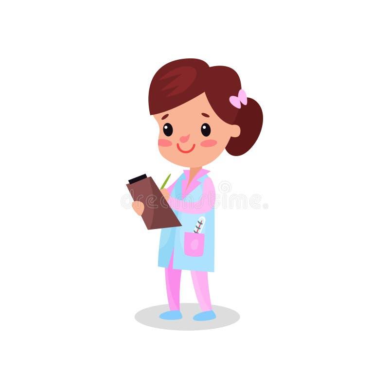 专业衣物文字处方的美丽的女孩医生,演奏医生传染媒介例证的孩子 皇族释放例证