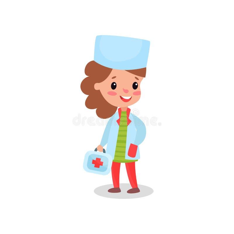 专业衣物的微笑的女孩医生 库存例证