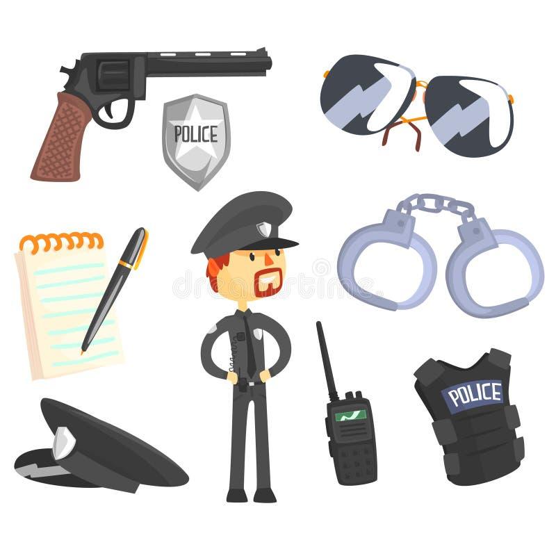 专业警察和他的工具、人和他的行业属性被设置被隔绝的动画片对象 向量例证
