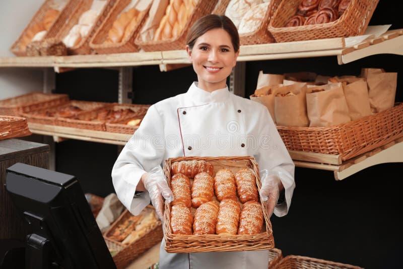 专业面包师藏品盘子用小圆面包在商店 库存图片