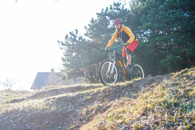 专业骑自行车者压低小山的,自由空间 有效的生活方式 库存图片