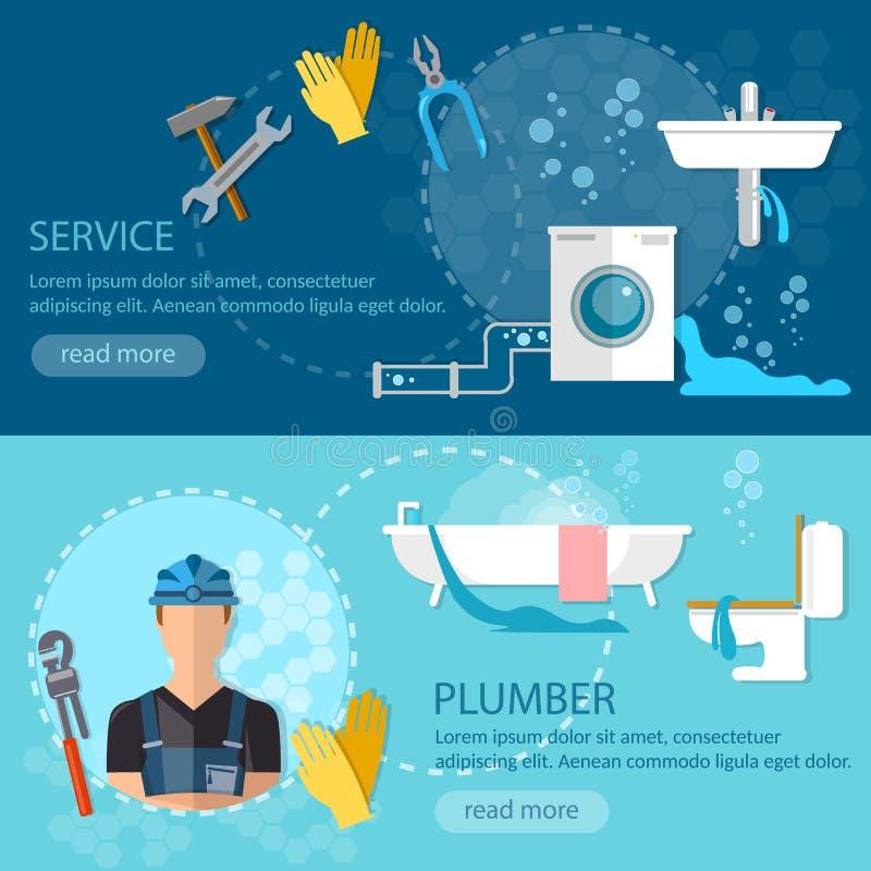 专业水管工横幅配管修理公司 库存例证