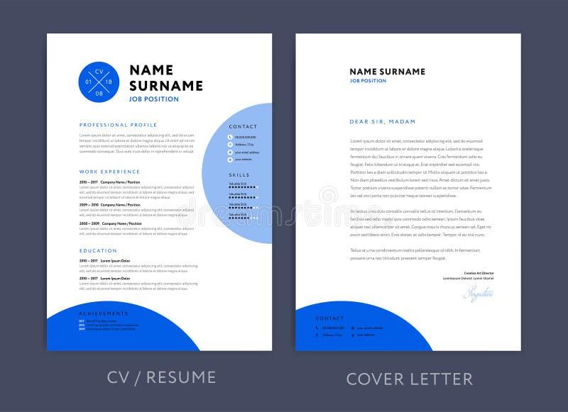 专业CV简历模板蓝色设计和信头/cov 向量例证