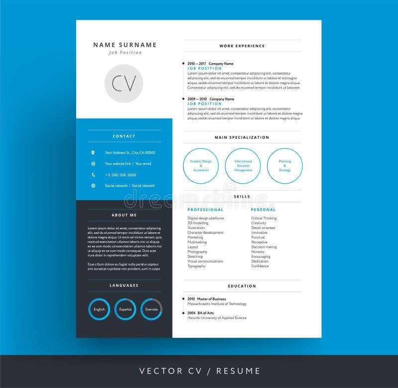 专业CV/简历模板蓝色背景颜色minimali 库存例证