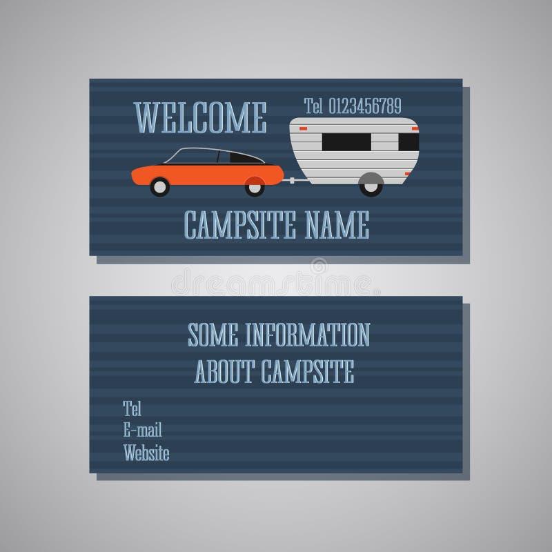 专家和设计师露营地拟订模板或名片集合 前面和后面看法 汽车和有蓬卡车 向量例证