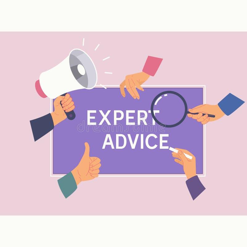 专家意见咨询服务企业帮助概念 女性手和词组专家意见 平的传染媒介例证 向量例证
