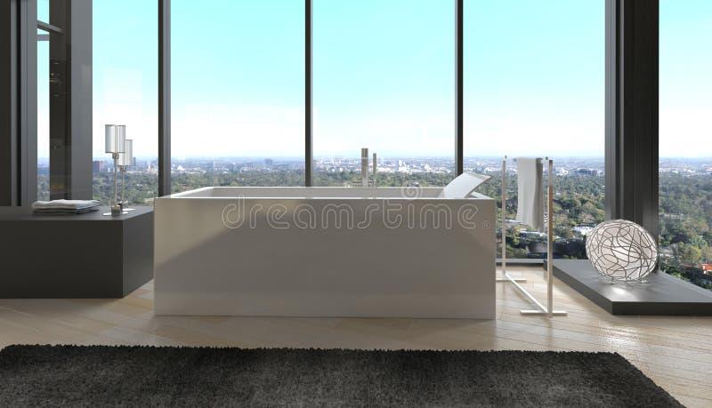 专属豪华卫生间内部在一个现代顶楼房屋 免版税库存图片