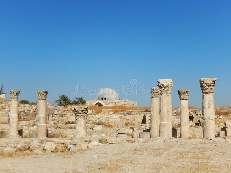 专栏和UMAYYAD宫殿,阿曼城堡,约旦 库存照片