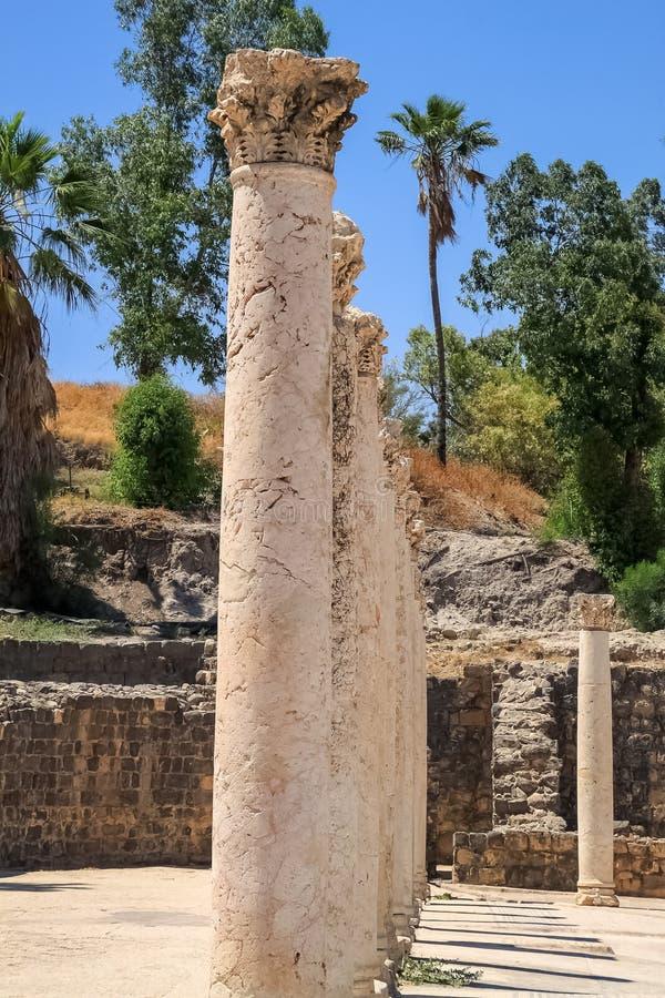 专栏在贝特谢安考古学站点排队了 库存照片