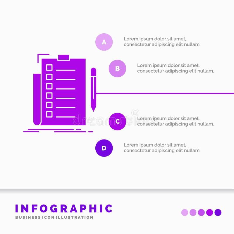 专门技术、清单、检查、名单、文件Infographics模板网站的和介绍 r 库存例证