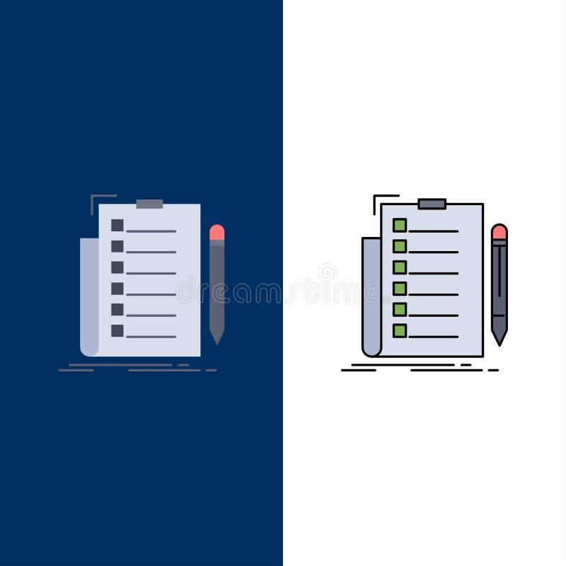 专门技术,清单,检查,名单,文件平的颜色象传染媒介 皇族释放例证