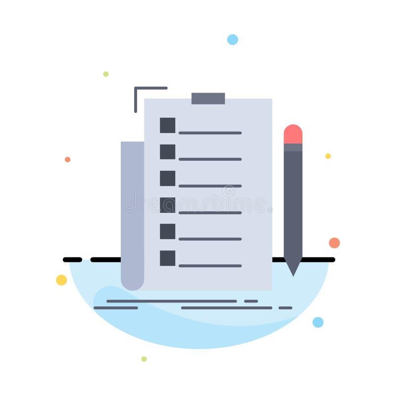 专门技术,清单,检查,名单,文件平的颜色象传染媒介 库存例证