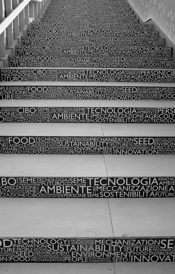 2015年世博会陈列台阶在米兰,意大利 免版税库存照片