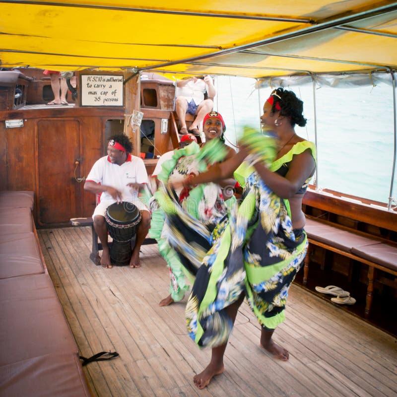 世嘉公司跳舞,毛里求斯海岛 免版税库存图片