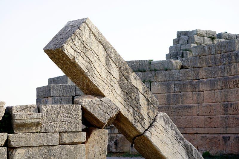世外桃源门的细节在途中的去古老Messene,伯罗奔尼撒 库存照片