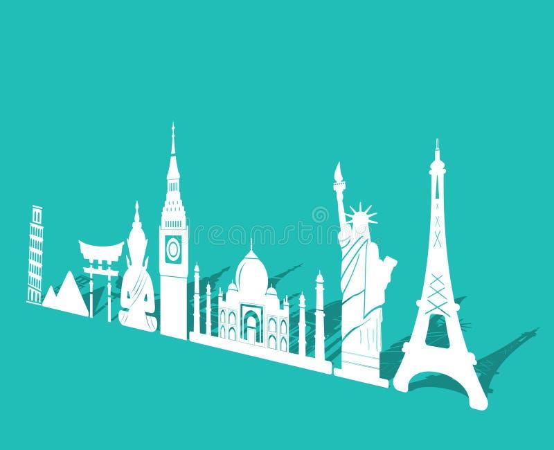 世界、旅行和旅游业背景七奇迹环球 皇族释放例证