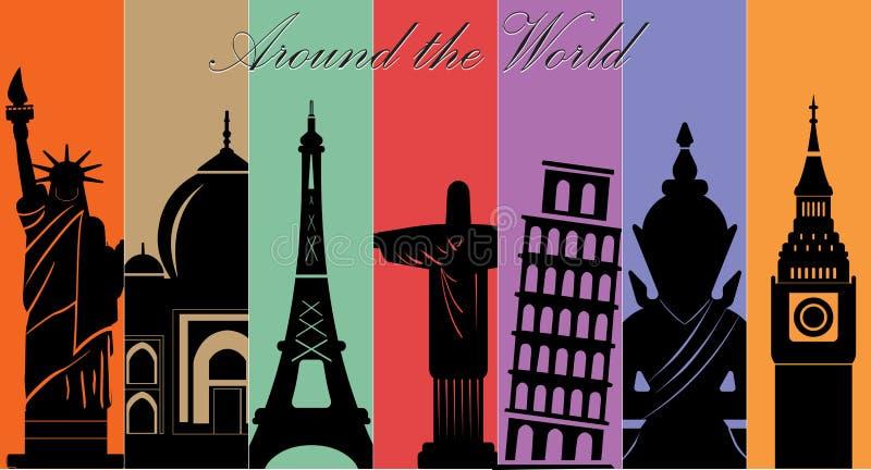 世界、旅行和旅游业背景奇迹  向量例证