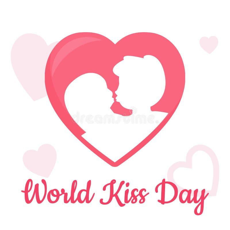 世界与心脏、男孩和女孩亲吻的传染媒介的亲吻天在白色背景 皇族释放例证