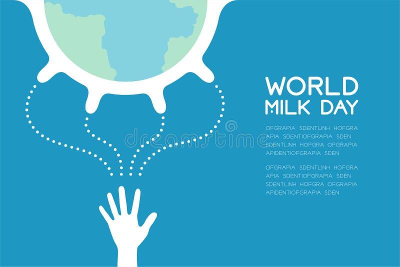 世界与挤奶手,世界牛奶天概念平的设计例证的乳房母牛 向量例证