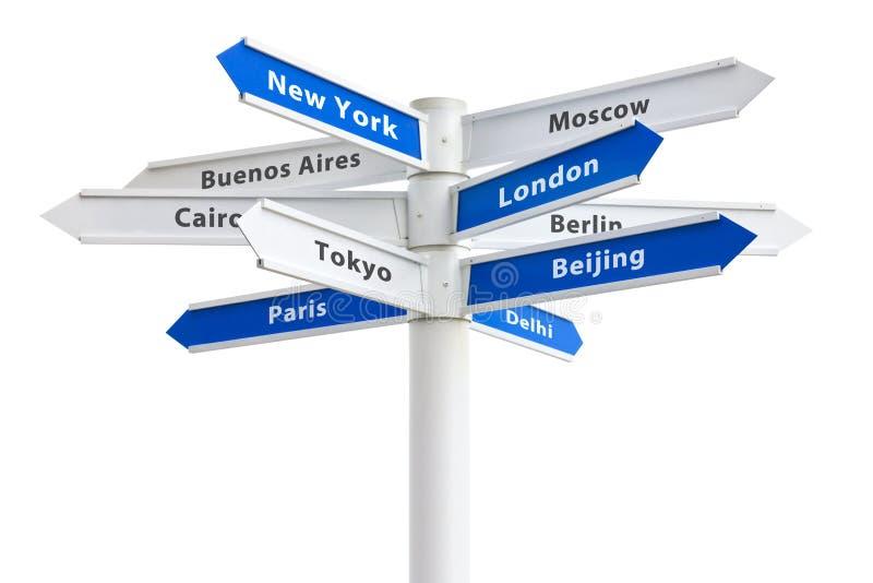 世界交叉路标志主要城市 图库摄影