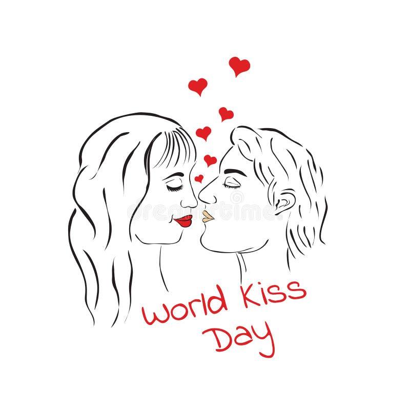 世界亲吻天 亲吻爱恋的夫妇 男人和妇女 向量例证
