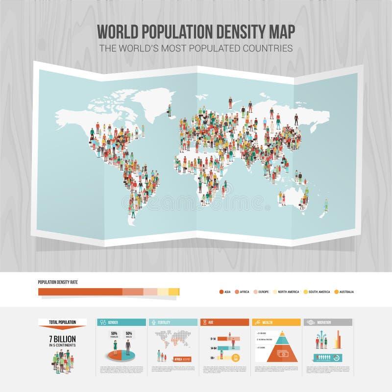 世界人口密度地图 皇族释放例证
