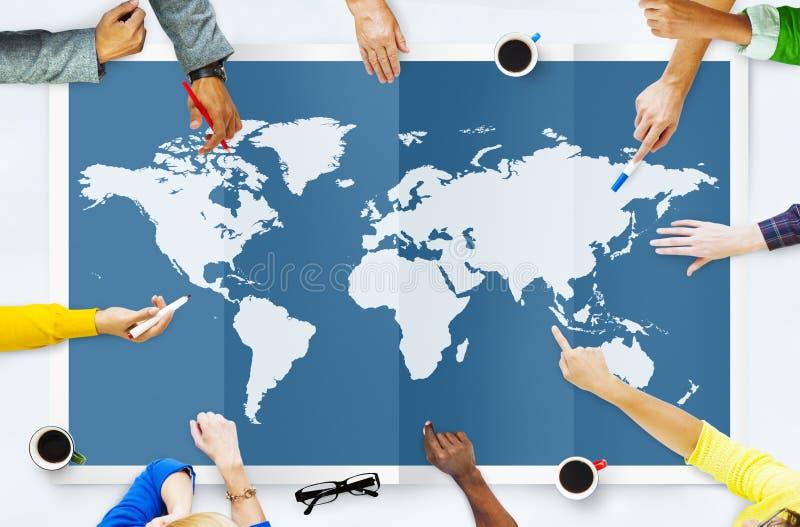 世界全球企业绘图全球化国际Co 免版税库存照片