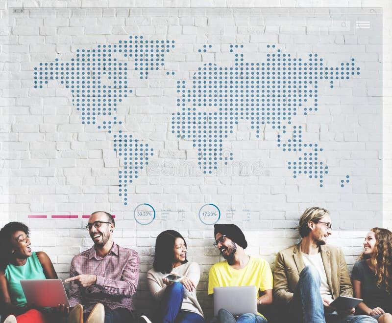 世界全球企业绘图通信概念 库存图片