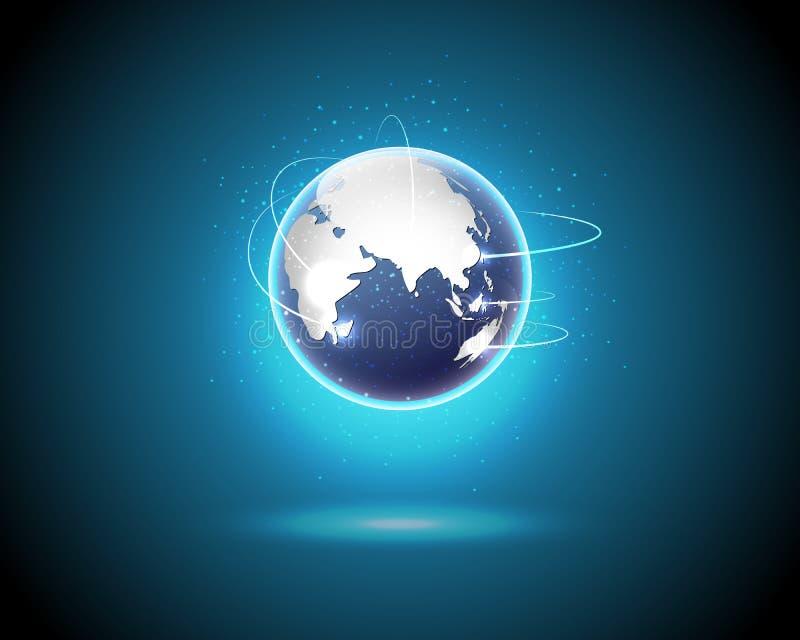 世界全球性互联网连接大数据信息te 向量例证
