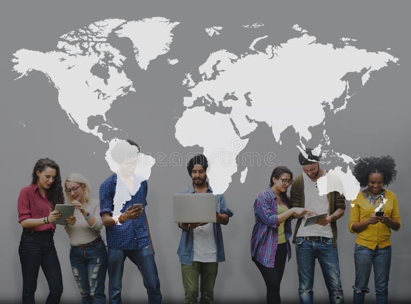 世界全球性绘图全球化全球Conce 库存照片