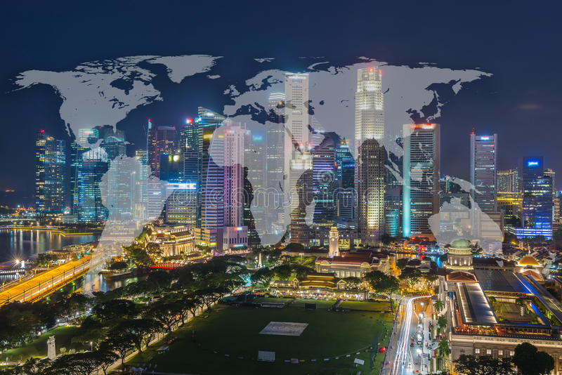 世界全球网络与都市风景Si的绘图全球化 免版税库存图片