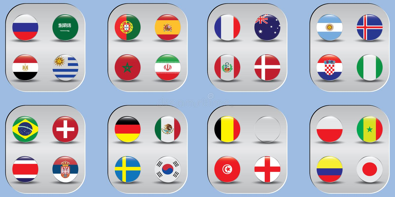 世界冠军 国家的传染媒介旗子 2018年在俄罗斯 库存例证