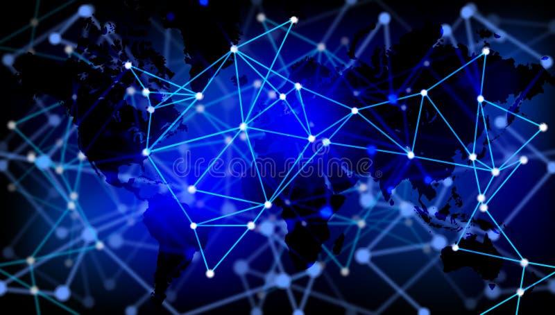 世界创业贷款及科技横幅背景 未来派背景,网际空间概念 向量例证