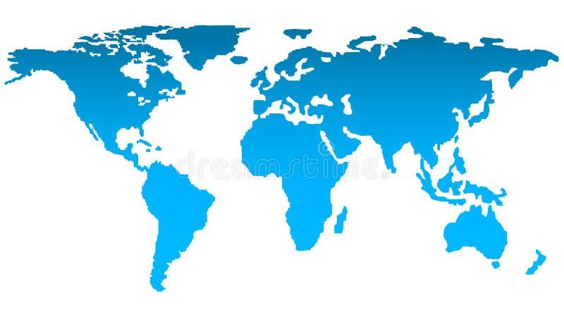 世界剪影的时髦地图在明亮的蓝色颜色的在白色背景 向量例证