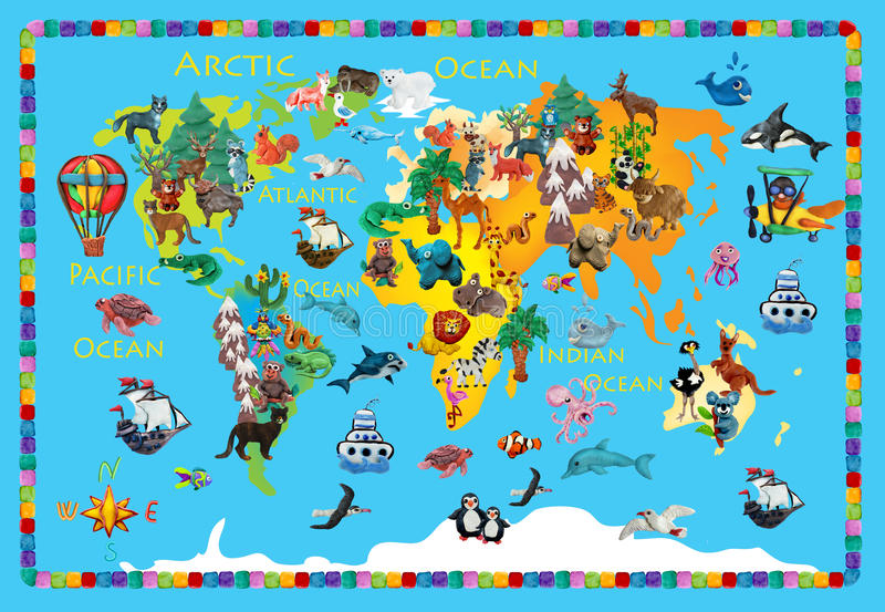 世界动物彩色塑泥五颜六色的孩子3d地图 皇族释放例证