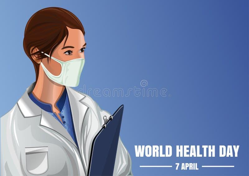 世界卫生日 蓝色背景的妇女军医 皇族释放例证