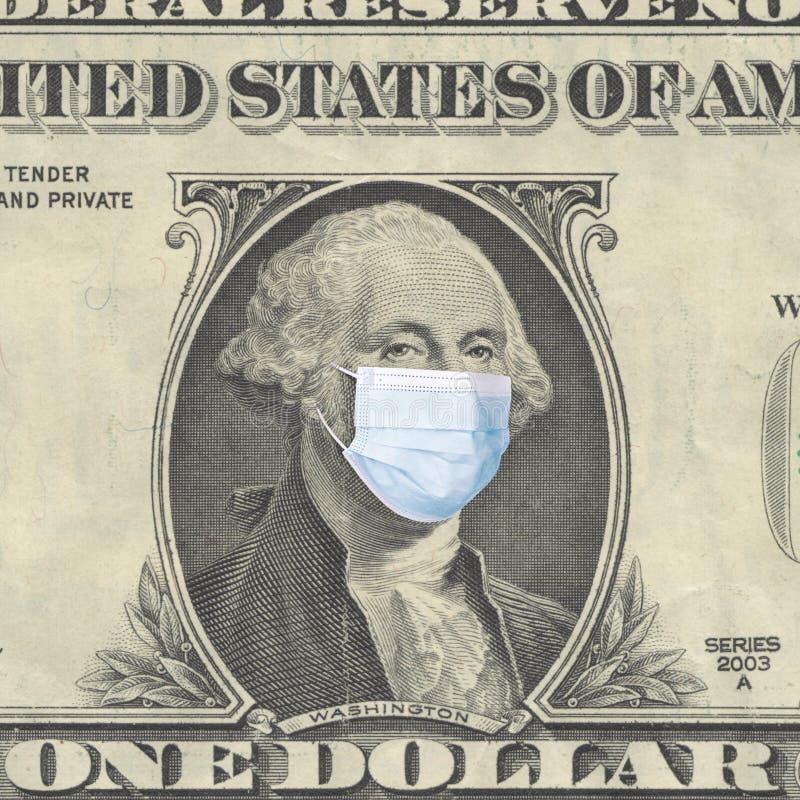世界危机概念 戴着医用面具的华盛顿总统画像 冠状病毒流行COVID-19 免版税库存照片