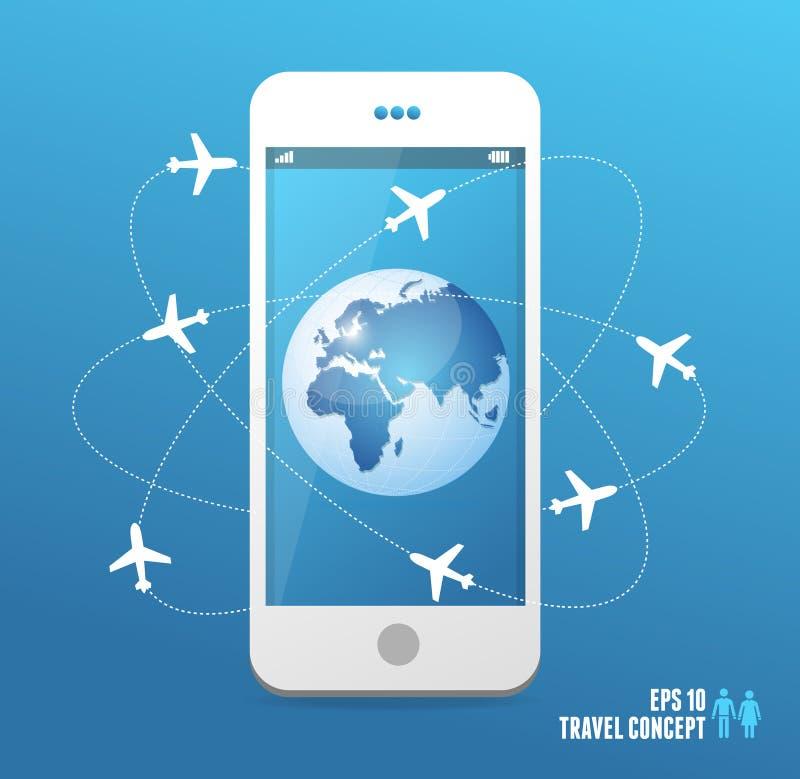 世界各地飞行的飞机 电话概念 向量例证